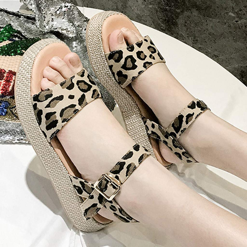 Orangeskycn Women Sandals Ladies Summer Leopard Print Thick Bottom Buckle Strap Solid Color Flat Causal Sandals Plus Size Brown by Orangeskycn Women Sandals (Image #5)