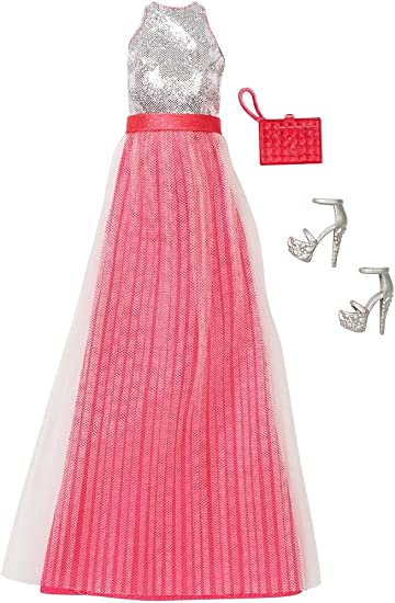 Amazon Com Barbie Fashion Gone Glam Pink Silver Dress With Shoes Handbag Toys Games