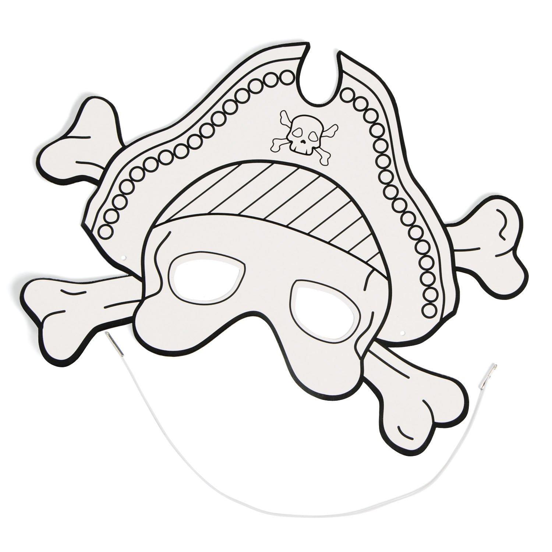 Piraten Totenkopf Maske zum ausmalen für Piratenparty 12 Stück ...