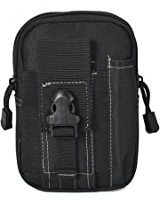 TONVER - Funda de cinturón táctica multifunción para el Aire Libre, con Cremallera, para teléfono móvil, Color Negro, tamaño 11.5 cm