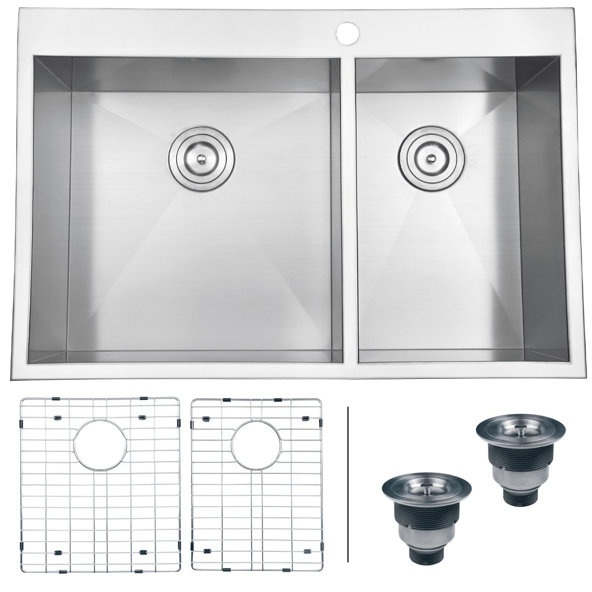 Ruvati RVH8050 Drop In Overmount Double Bowl Kitchen Sink