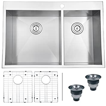 ruvati rvh8050 drop in overmount 16 gauge 33 kitchen sink double bowl stainless. beautiful ideas. Home Design Ideas