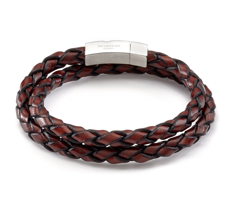 Tateossian Men's Leather Double Wrap Scoubidou Bracelet, Medium, 42 CM - Brown