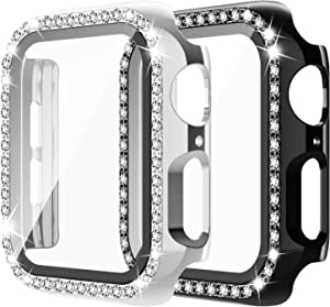 Apple Watch Case with Tempered Glass Screen Protector for iWatch 40mm Series 6/5/4/SE [2 Pack] Bling Crystal Diamond Rhinestone Bumper Full Cover Protective Case for Women Girls