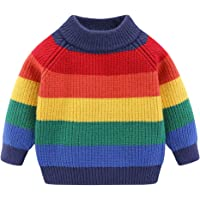 Mud Kingdom Little Boys Girls Sweater Pullover Cute Rainbow Stripe