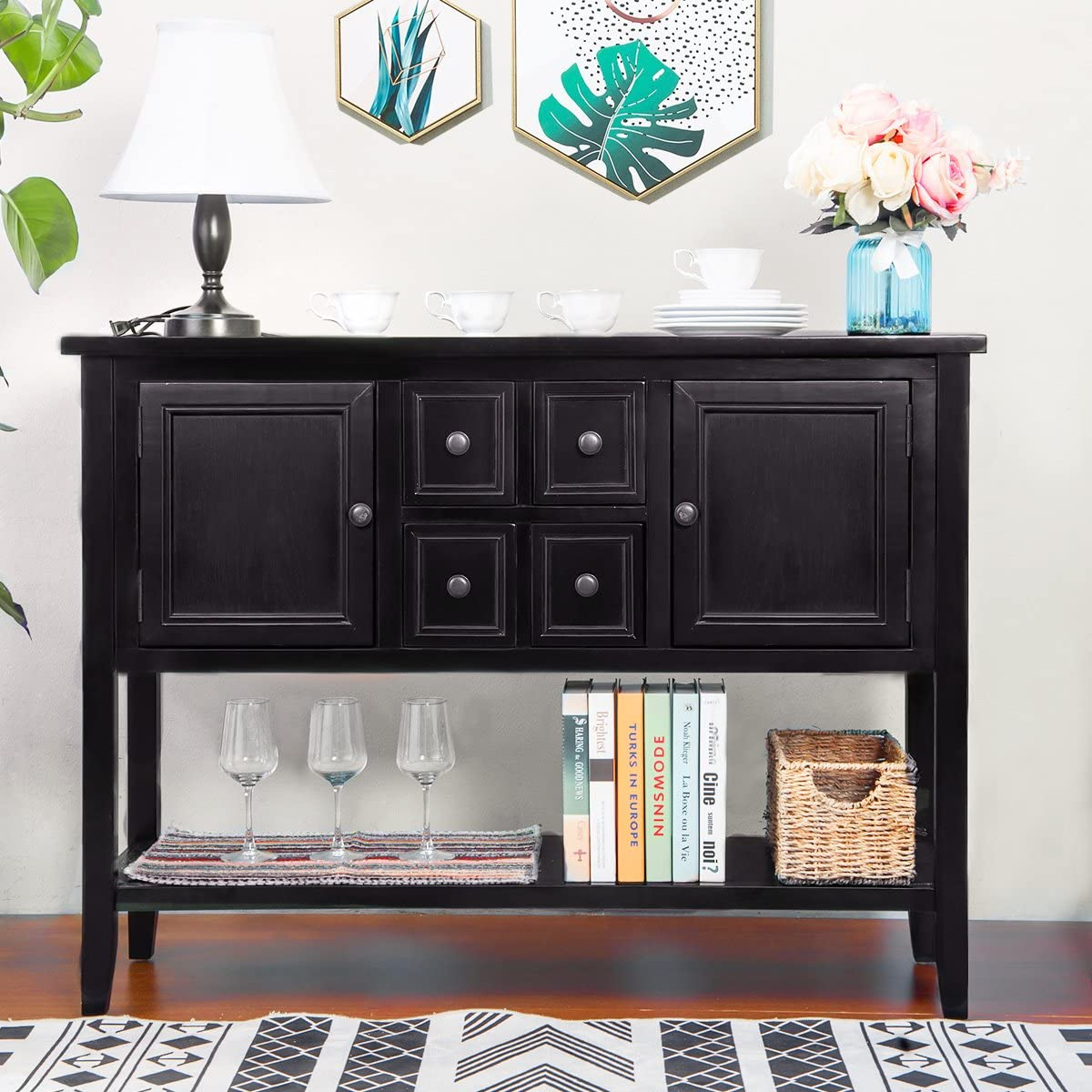OUYS Buffet Table,Cambridge Series Sideboard Table with Four Storage Drawers, Two Cabinets and Bottom Shelf,Entry Table Sofa Table Buffet TV Stand Espresso