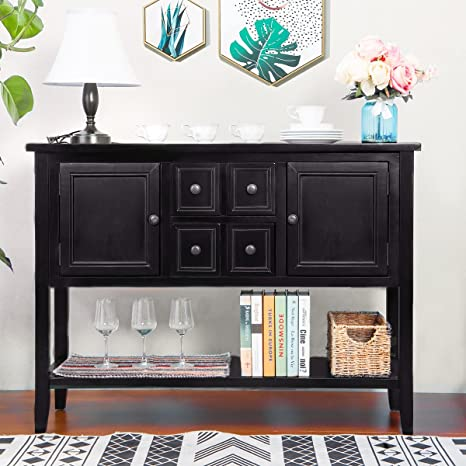 ZSQ Buffet Table, Cambridge Series Sideboard Table with Bottom Shelf,  Console Table Dining Room Server, Entry Table Buffet Cabinet Sofa Table  (Black)