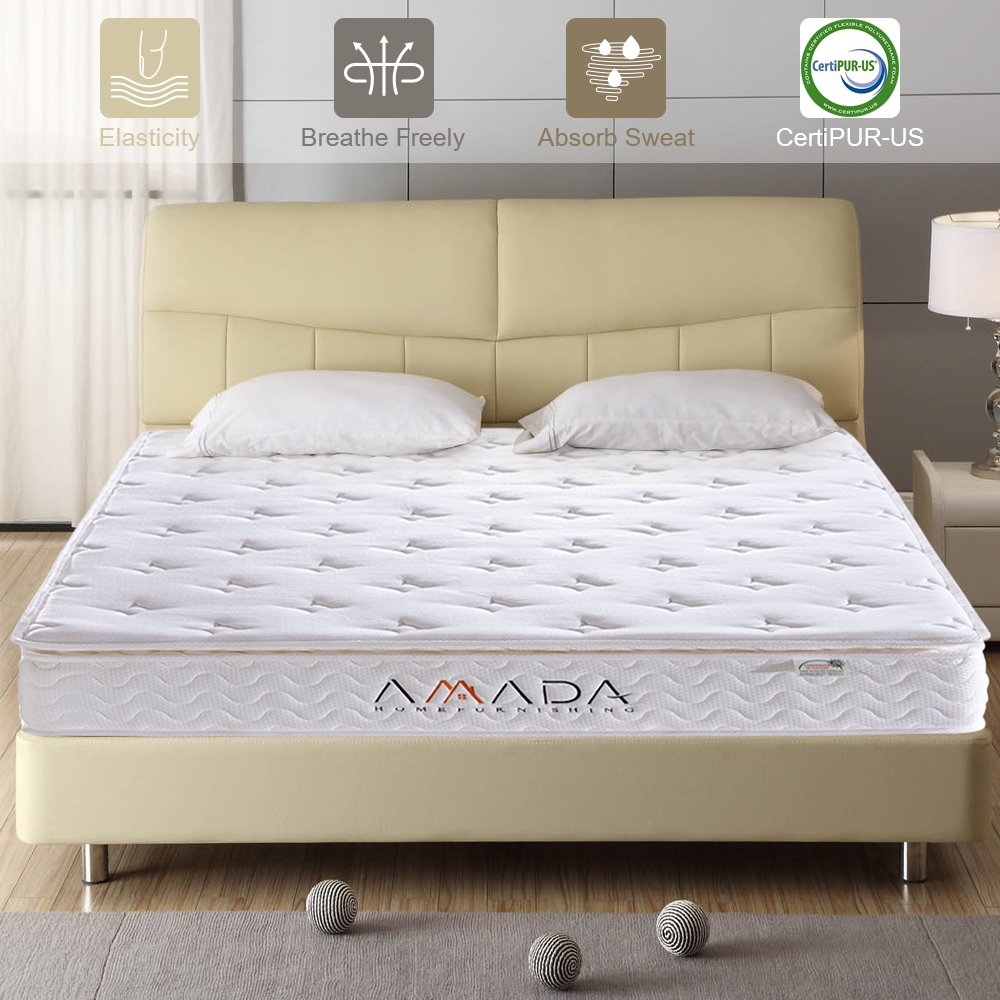 Mattress, Queen Memory Foam Mattress - with Individually Wrapped Innerspring and E-Union 100 Certified Foam for Restful Sleeping by AMADA
