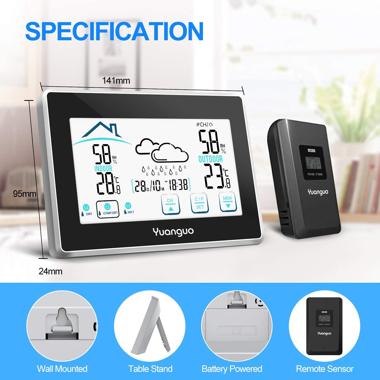 Outdoor Indoor Temperature Thermometer Gauge Digital Thermo-hygrometer Humidity Monitor with Large LCD Yuanguo 2020 New Version Wireless Weather Station with Outdoor Sensor