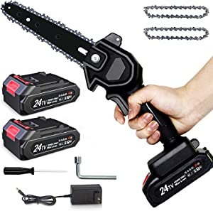 Mini Chainsaw, MagicFox 6-Inch Electric Portable Chainsaw, 2Pcs Batteries and 2Pcs Chain,1.1KG One Hand Chainsaw for Garden Bush Tree Branch Pruning Shears Wood Cutting (Black) (Black-1)