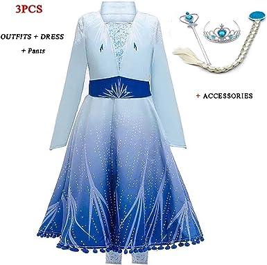 LQSZ Elsa Queen Anna Princess Ceremonial Robe Dresses Full Dress Birthday Party Dresses Children Christmas Costume