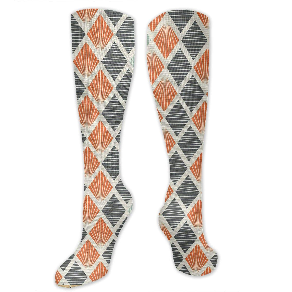 Chanwazibibiliu Pop Art Style Retro Rhombus Fractal Mens Colorful Dress Socks Funky Men Multicolored Pattern Fashionable Fun Crew Cotton Socks