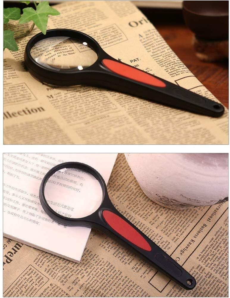 Magnifier 80mm Magnifying Glass, 2 Times Aspherical Magnifying Glass, Old People Reading High Definition HD (Color : Black) by Magnifier