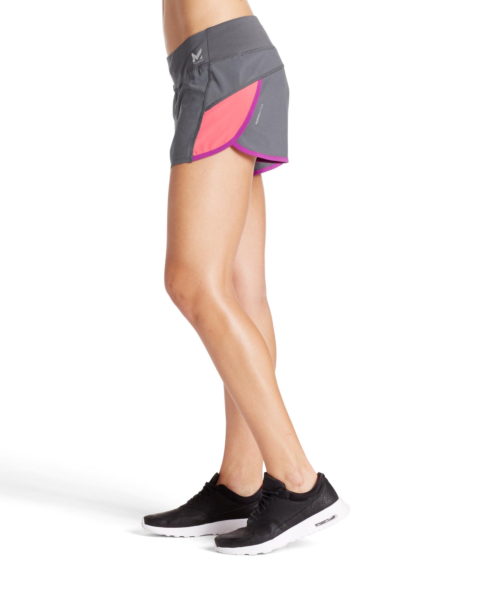 "Mission Women's VaporActive Momentum Running 3"" Shorts, Iron Gate/Calypso Coral, Medium"