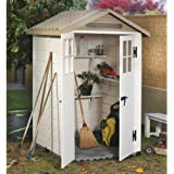 Casetta PVC beige con pavimento box ricovero attrezzi giardino TUSCANY EVO-120