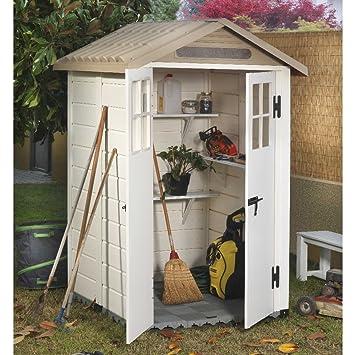 Tuscany EVO-120 - Caseta de PVC color beige para guardar las herramientas del jardín : Amazon.es: Jardín