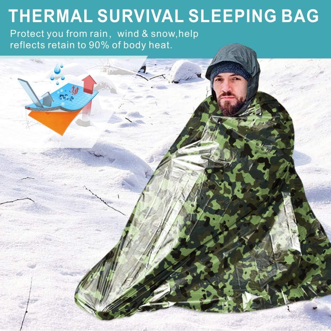 Calentador de Cuerpo y Rescate para Exteriores Idefair Saco de Dormir de Emergencia Plegable Impermeable Primeros Auxilios Saco de Dormir de Emergencia para Acampada