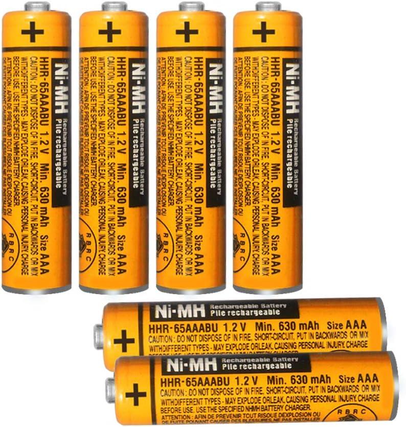 Paquete de 6 baterías Recargables HHR-65AAABU NI-MH para Panasonic 1.2V 630mAh AAA para teléfonos inalámbricos: Amazon.es: Electrónica