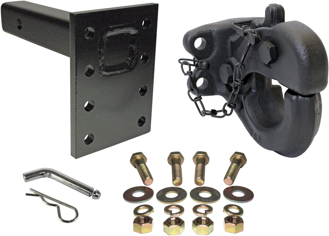 EZ Travel Collection 10,000 Pound Bolt-On Pintle Hitch Hook Hardware Included