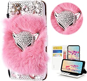STENES Bling Wallet Phone Case Compatible with iPhone 12 Pro Max Case - Stylish - 3D Handmade Luxury Fox Flowers Design Leather Cover with Screen Protector & Neck Strap Lanyard - Pink
