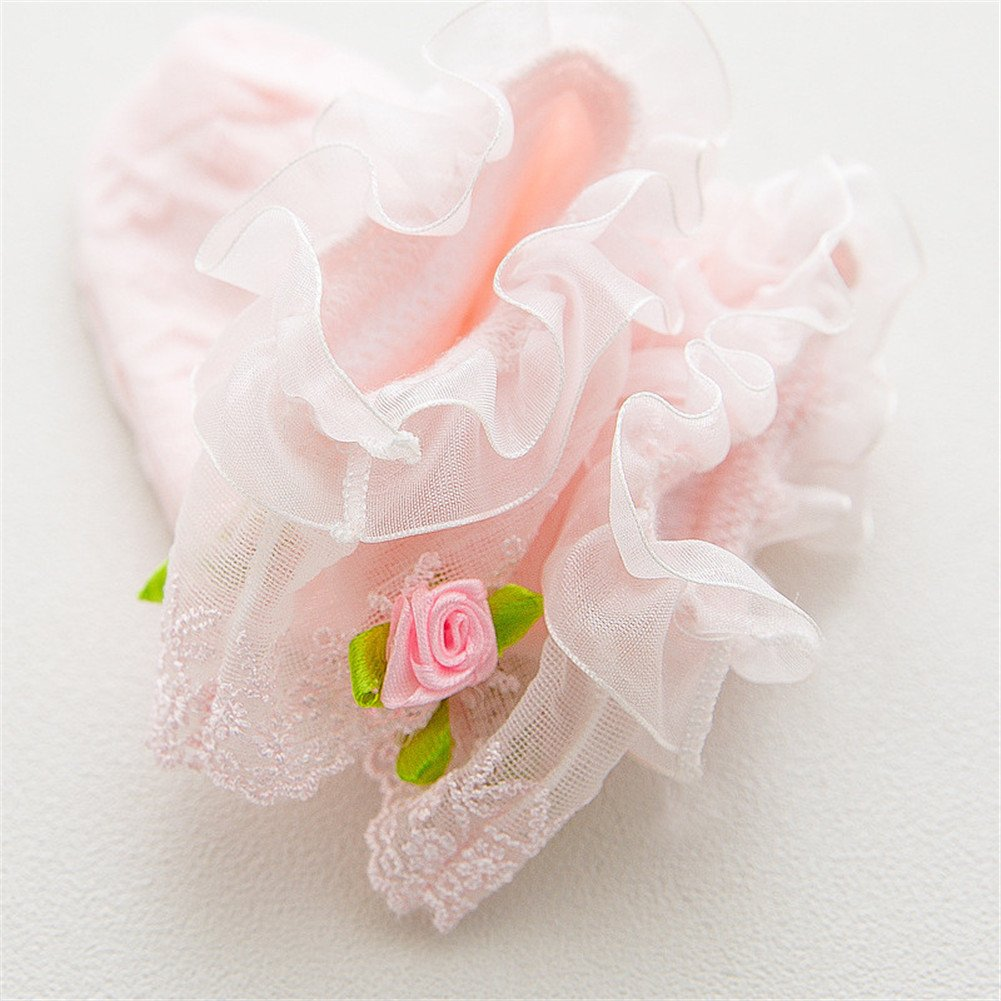 Ehdching Baby Girls Pack of 2 Baby Toddler Girls Lace Flower Ruffle Frilly Eyelet Cotton Princess Dress Ankle Socks 0-3T