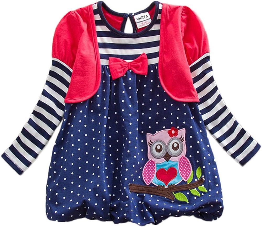 VIKITA Vestito Manica Lunga Cotone Bambina 1-8 Anni