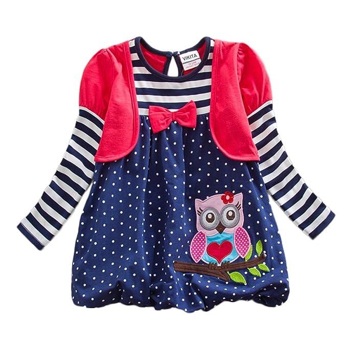 VIKITA Vestido para Niñas Manga Larga Algodón Princesa Casuales Bebe Niñas LG006RED 2T