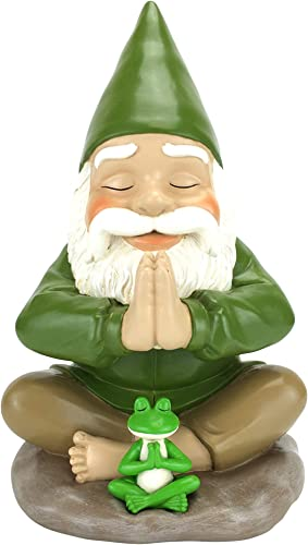 GlitZGlam Zen Gnome and Zen Frog – Namaste Tranquility and Peacefulness for Your Fairy Garden and Garden Gnomes A Large 9 Inches Tall Miniature Gnome Figurine