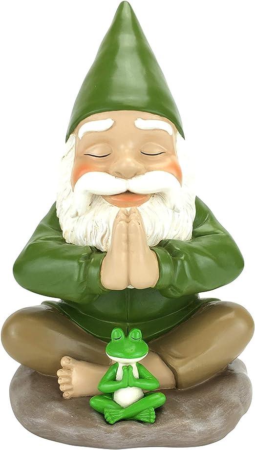 Gnomo Zen y Rana Zen – Namaste – Paz y tranquilidad para tu Jardín de Hadas y Jardín de Gnomos de GlitzGlam. Figurita de Gnomo en miniatura de 23.49 cm de alto: