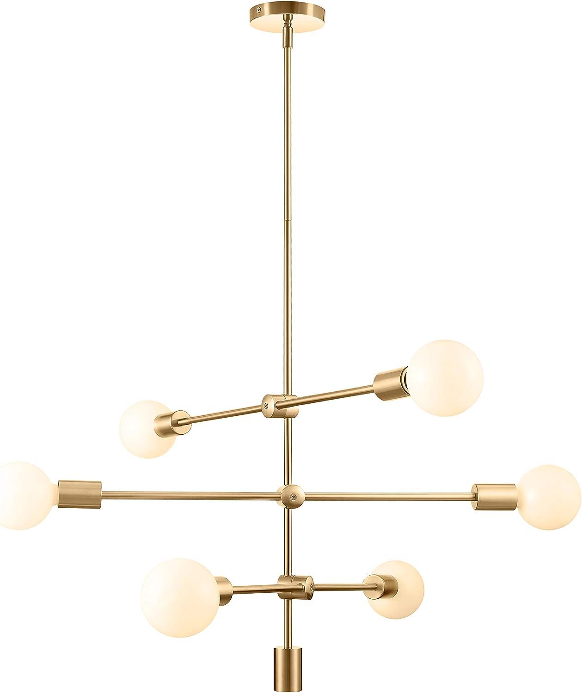 Amazon Com Sputnik Chandelier 6 Light Pendant Lighting Fixture For Dining Room Ceiling Light Fixture For Bedroom Hallway Kitchen Living Room Home Improvement