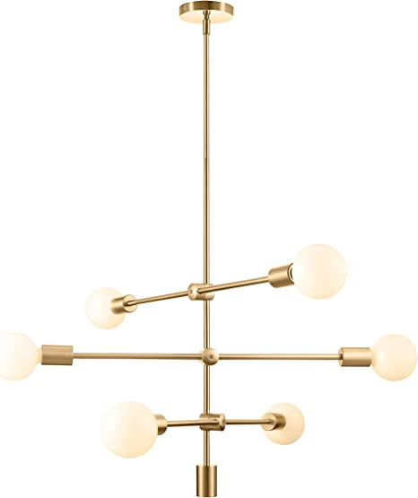 Sputnik Chandelier 6 Light Pendant Lighting Fixture For Dining Room Ceiling Light Fixture For Bedroom Hallway Kitchen Living Room