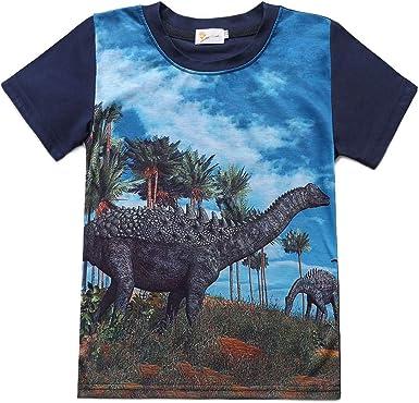 Summer Kids Boy Dinosaur Print Short Sleeve T Tee Shirt Top Children Clothes UK