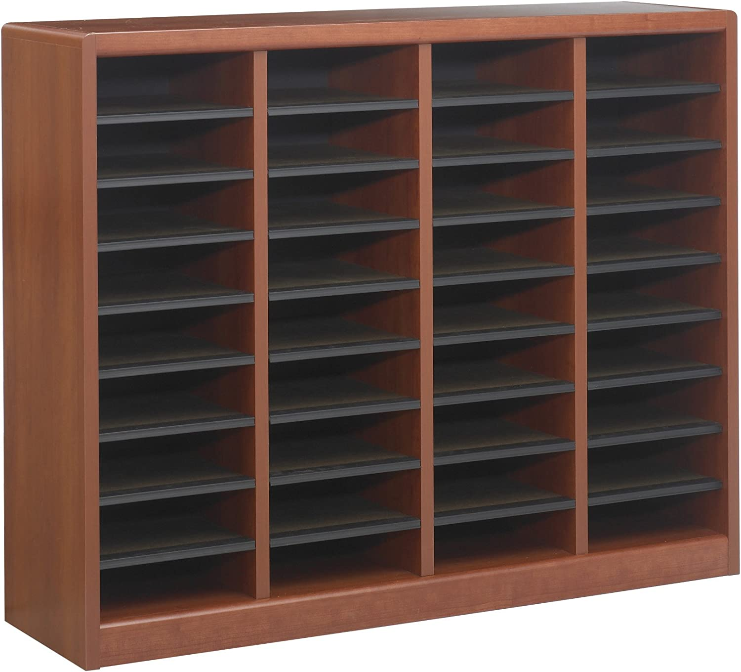 Safco Products E-Z Stor Wood Literature Organizer, 36 Compartment, 9321CY, Cherry, Durable Construction, Removable Shelves, Plastic Label Holders