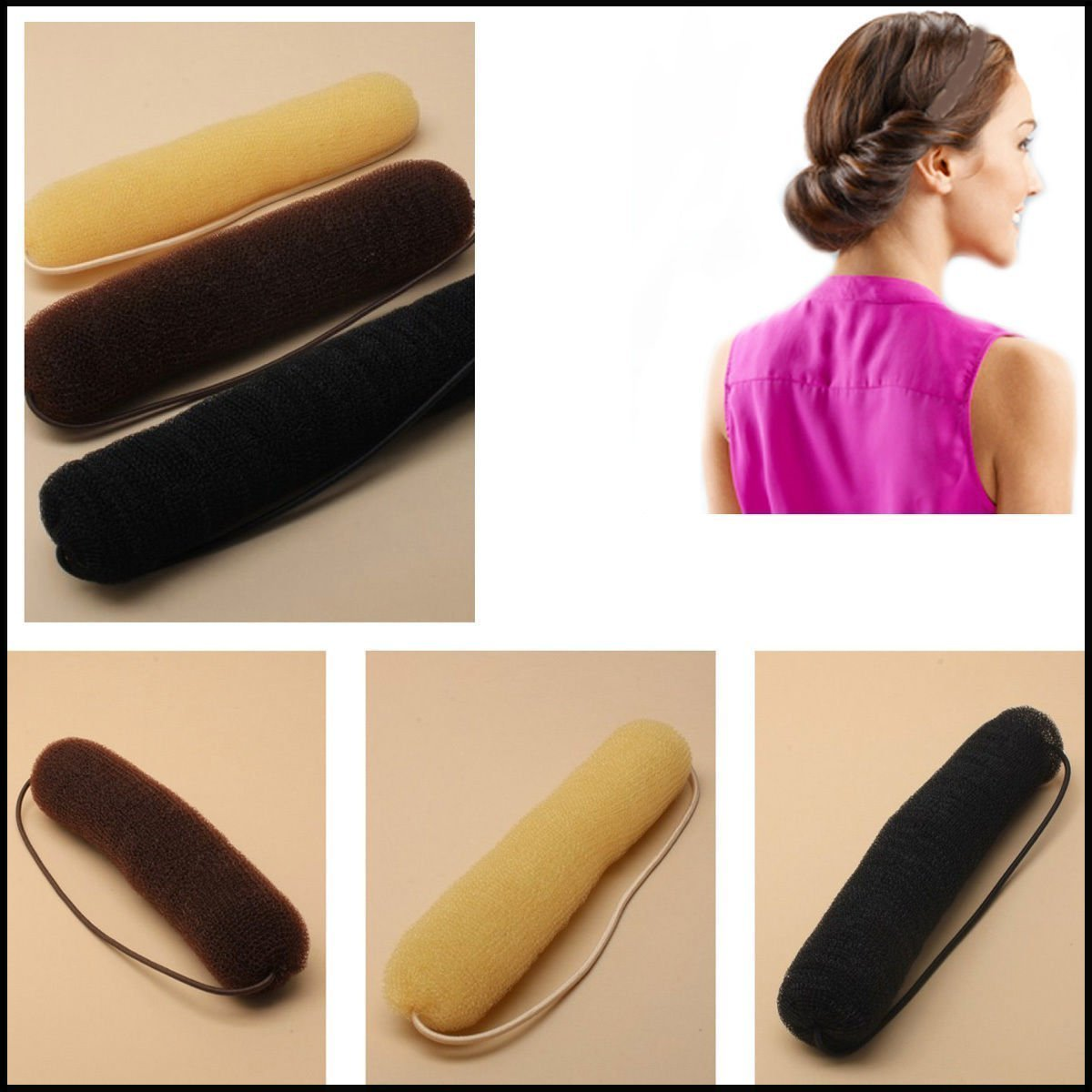 Grids London Bun Bump Up BROWN Hair Bun Hollywood Style Sponge Roll on Elastic Styling Hair Women Accessories Twist Vintage Headbands