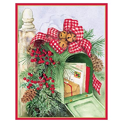 caspari christmas mailbox mini boxed christmas cards 16 cards 16 envelopes