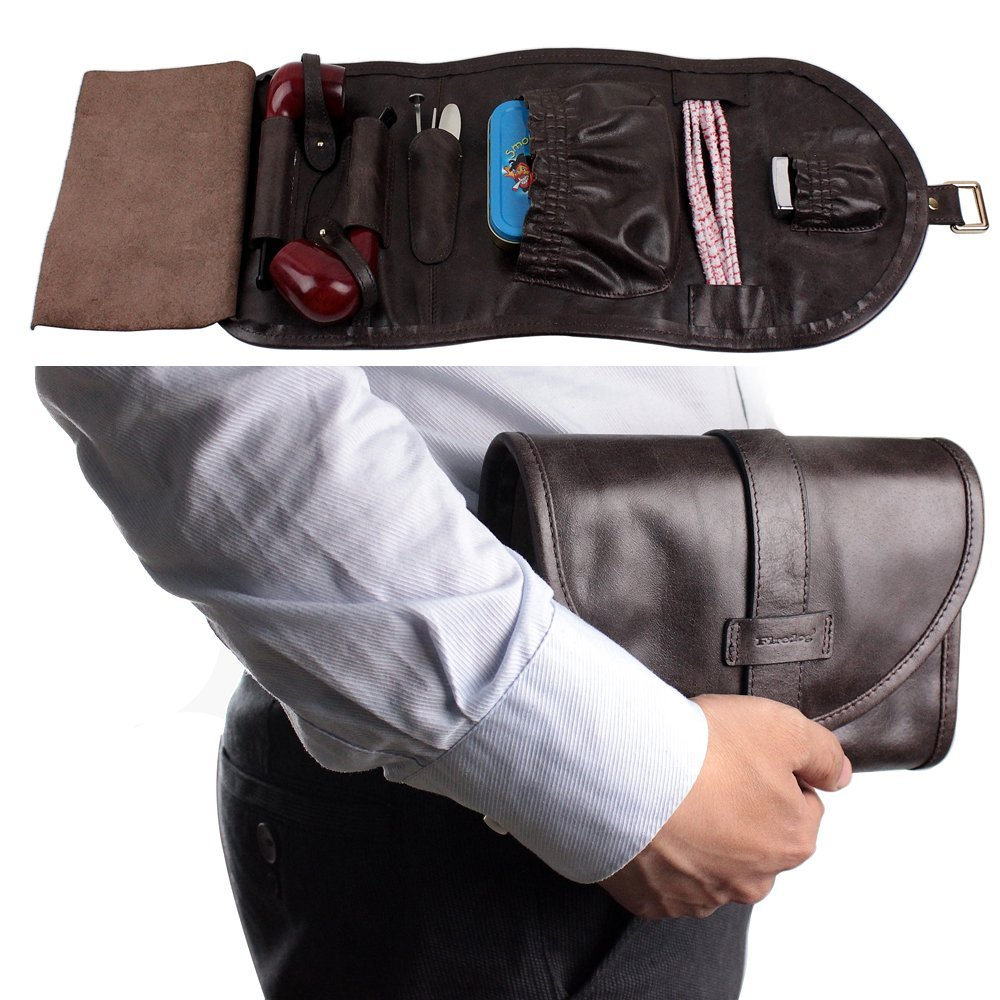 Traditional Brown Genuine Leather Tobacco Smoking Pipe Pouch Bag Organize Case Pipe Tool lighter Holder Pocket for 2 Pipe (black-brown) by Unknown (Image #2)