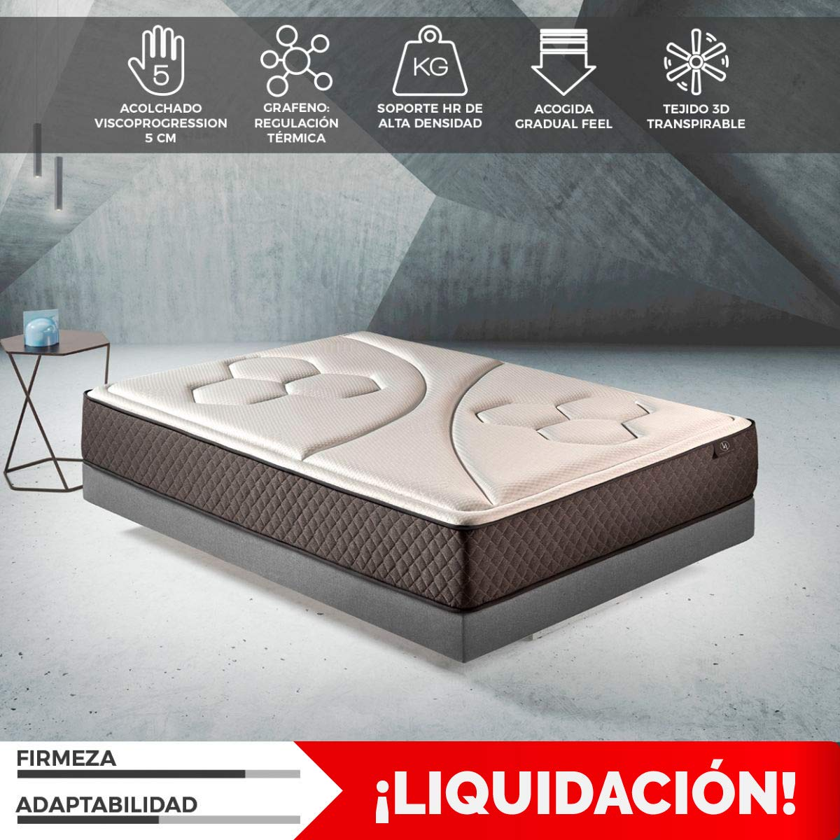 Komfortland Colchón viscoelástico Memory Vex Foam con 5 cm de ViscoProgression Grafeno, Altura 25 cm 90 x 200 cm: Amazon.es: Hogar