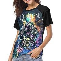 Hazso Nosyks Queen Rock Band Freddie Mercury Short Sleeve Womens 3D Print Baseball T-Shirt Hip Hop Sports Raglan Tee Top Shirt
