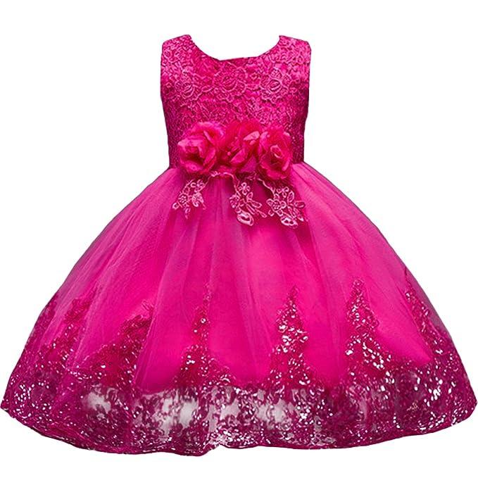 492bb00b7d8d00 IWEMEK Mädchen Kinder Mit Kleider Blumenmädchenkleider Hochzeitskleid  Brautjungfern Kleid Prinzessin Hochzeit Abendkleid Geburtstag Kurzes Kleid  ...