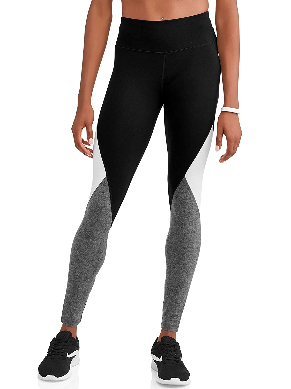 Black Soot Arctic White Athletic Works Women's Dri More Core Yoga Ankle Leggings