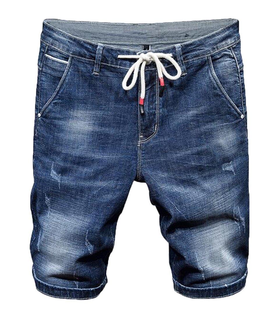 Suncolor8 Men's Straight Leg Elastic Waist Slim Casual Washed Denim Shorts Jeans