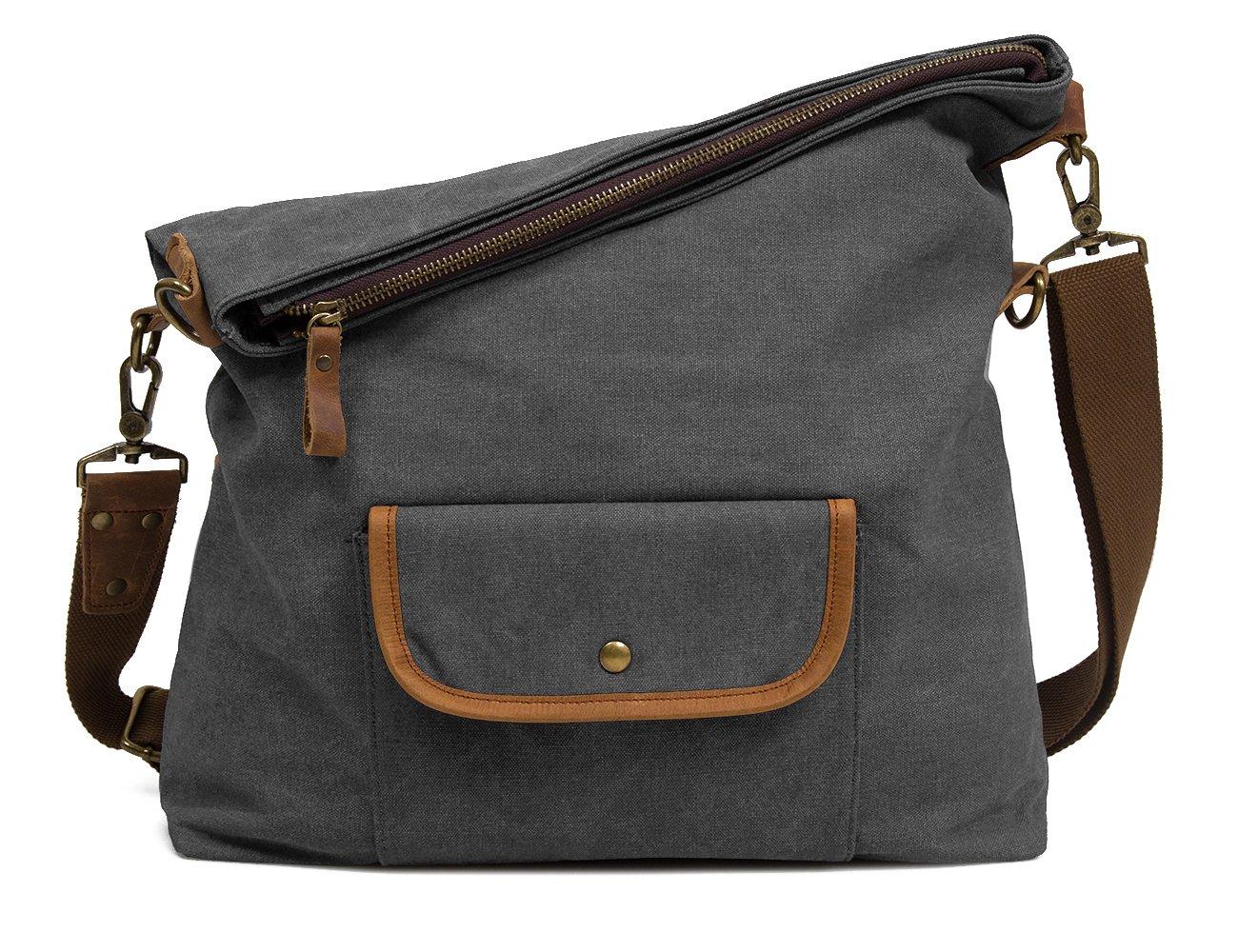 ECOSUSI Canvas Hobo Bag Crossbody School Messenger Shoulder Bags for Men and Women, Gray Ecou025017008