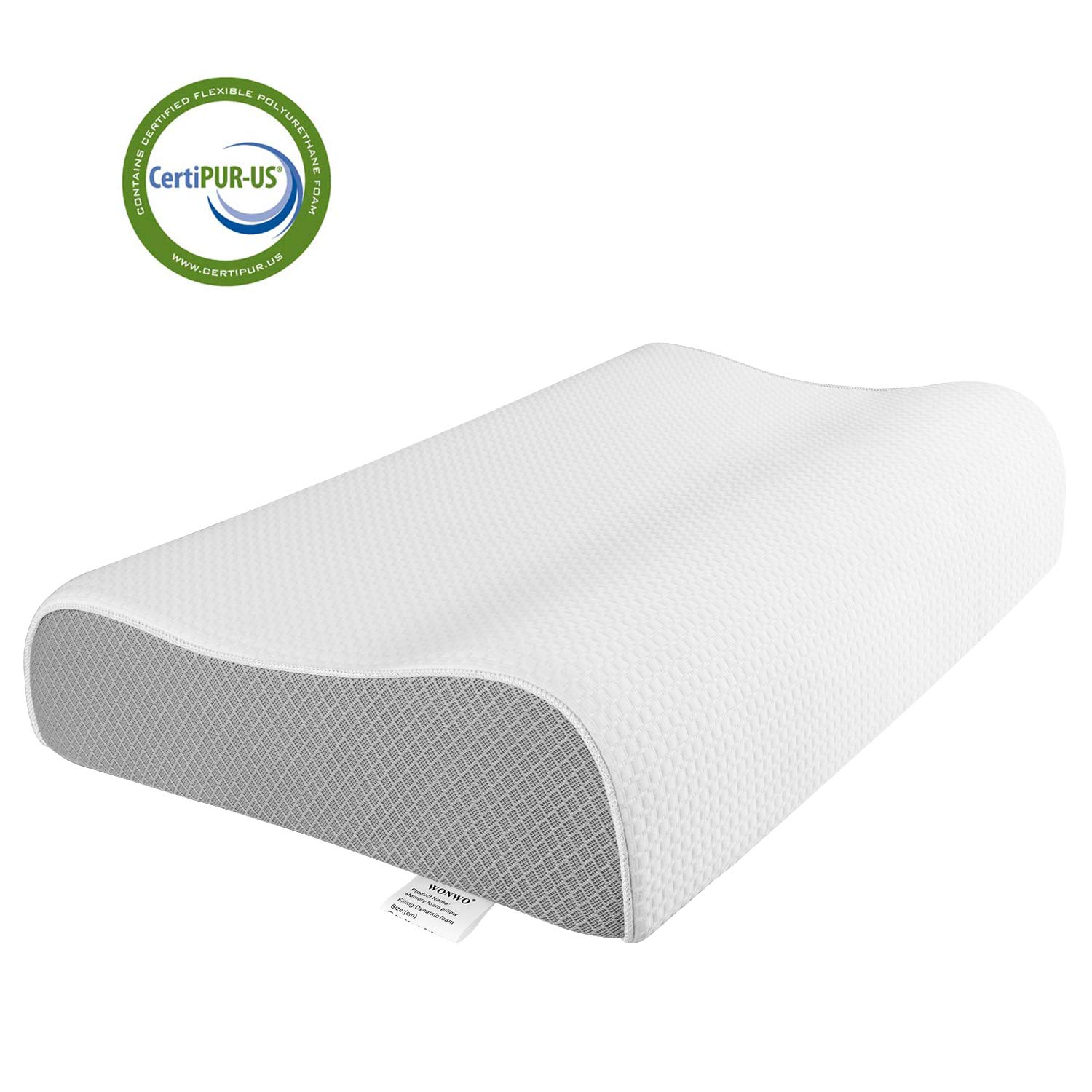 Wonwo Memory Foam Pillow, Orthopedic Sleeping Pillow Contour Cervical Bed Pillow for Neck Pain, Back Stomach Side Sleepers with Washable Pillowcase