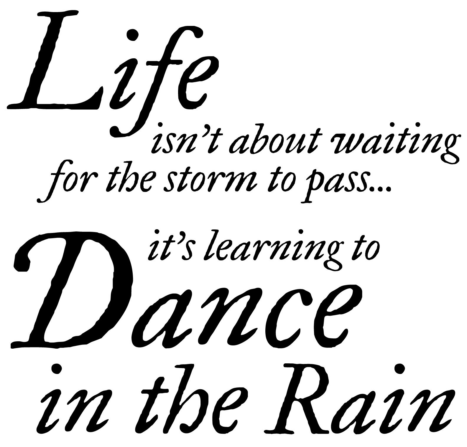 Premium Vinyl Wall Decal Quote | Life Isn't About Waiting for The Storm to Pass It's Learning to Dance in The Rain | Inspirational Saying for Home Decor (22in x 22in) | Safe on Paint Easy to Install