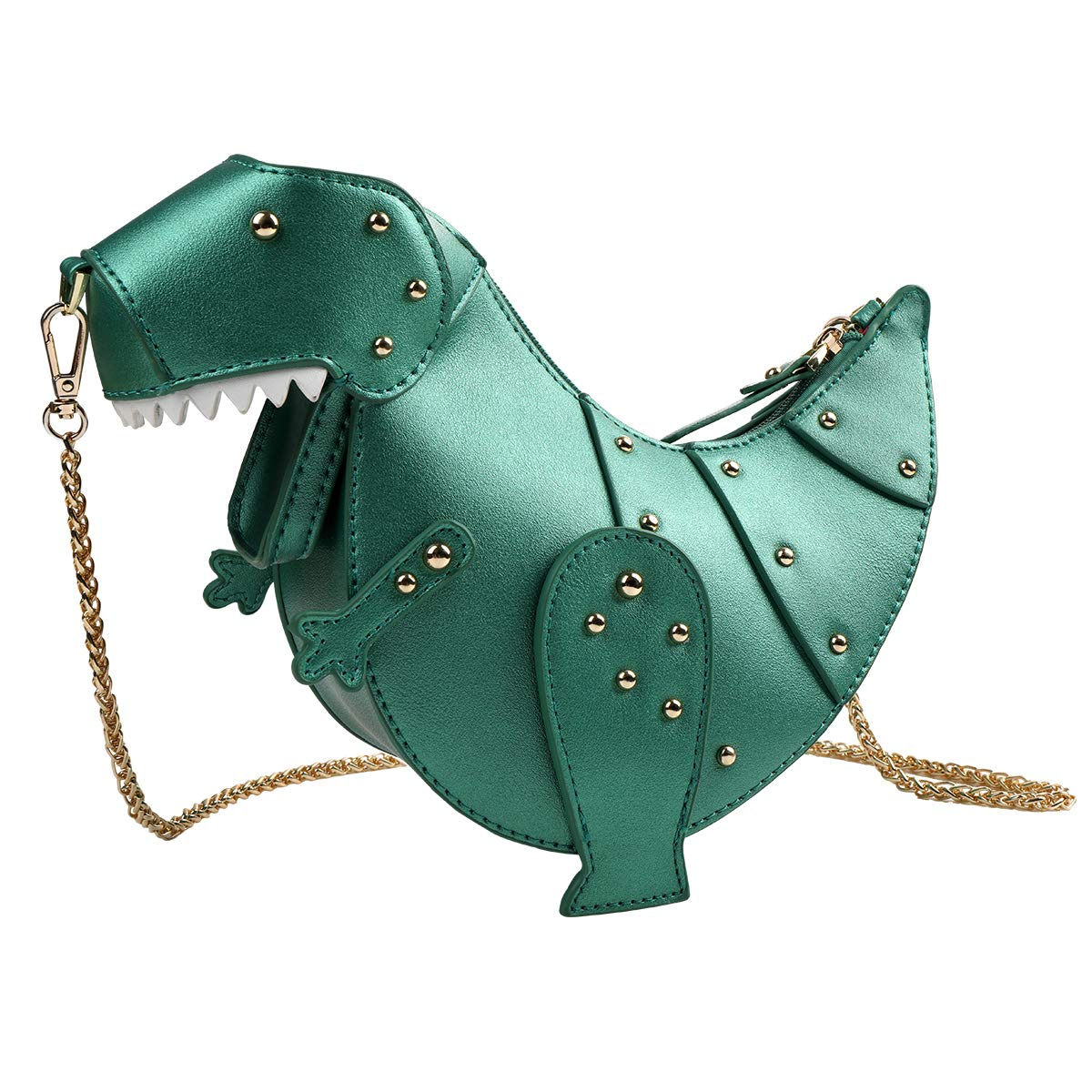 ویکالا · خرید  اصل اورجینال · خرید از آمازون · DUSUN Women Messenger Bags Dinosaur Shape PU Leather Rivet Chain Crossbody Shoulder Bag Girl Mini Clutch Purse (Green) wekala · ویکالا