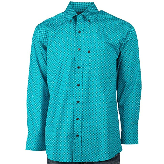 Cinch Mens Classic Fit Long Sleeve Button Down Dot Print Shirt Turquoise
