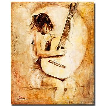 Amazon.com: Soft Guitar by Master\'s Art, 26x32-Inch Canvas Wall Art ...