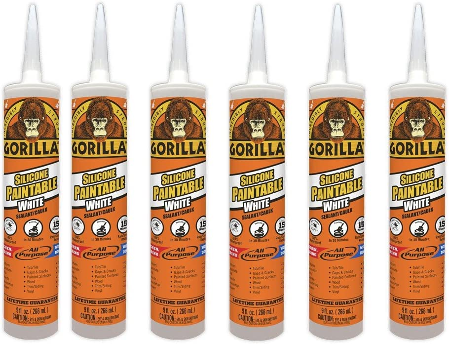 Gorilla Paintable Silicone Sealant Caulk, Waterproof and Mold & Mildew Resistant, 9 ounce Cartridge, White, (Pack of 6)