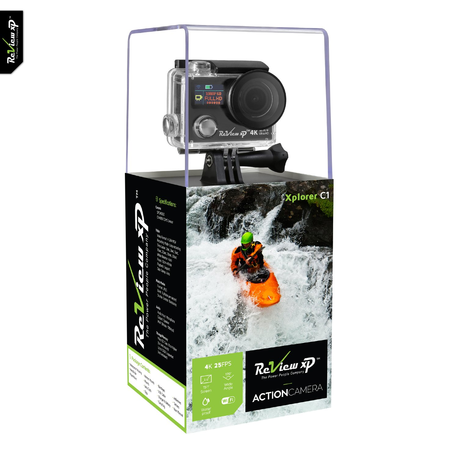 Review XP 4K Wi-Fi Waterproof Sports Action Camera 12MP 25fps HD Video Underwater Camcorder 170° Wide Angle Dual Screen Battery Accessories Kit – Black