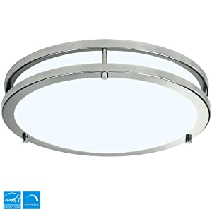 "LB72119 LED Flush Mount Ceiling Light, 12"", 100W Equivalent, 4000K Cool White, 15W, 1050 Lumens, ETL and Energy Star Listed, 120V, Dimmable"